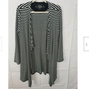Soma Striped Open Draped Cardigan